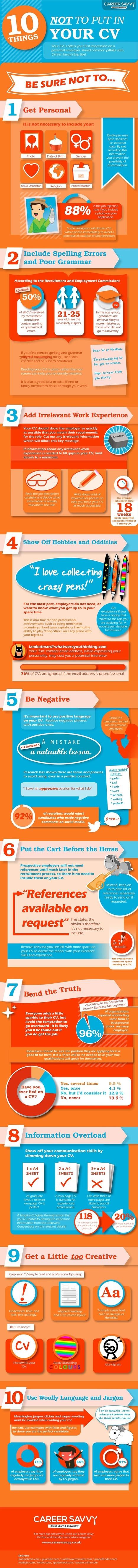 10 cosas que NO poner en tu Curriculum #infografia #infographic ...   tallerdeempleo   Scoop.it