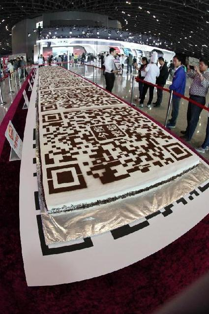 'QR code cake' displayed at auto exhibition | artcode | Scoop.it