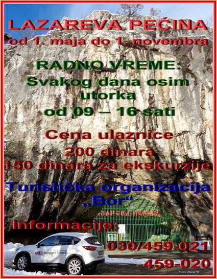 Radno vreme Lazareve pecine | Turistički potencijali opštine Bor :) | Scoop.it