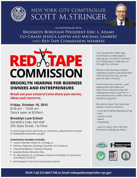 Red Tape Commission Brooklyn Hearing For Business Owners And Entrepreneurs - Office of the New York City Comptroller Scott M. Stringer | Brooklyn By Design | Scoop.it
