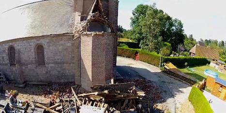 Orages: le clocher de Greuville dévasté vu par un drone - BFMTV.COM | Drone & applications | Scoop.it