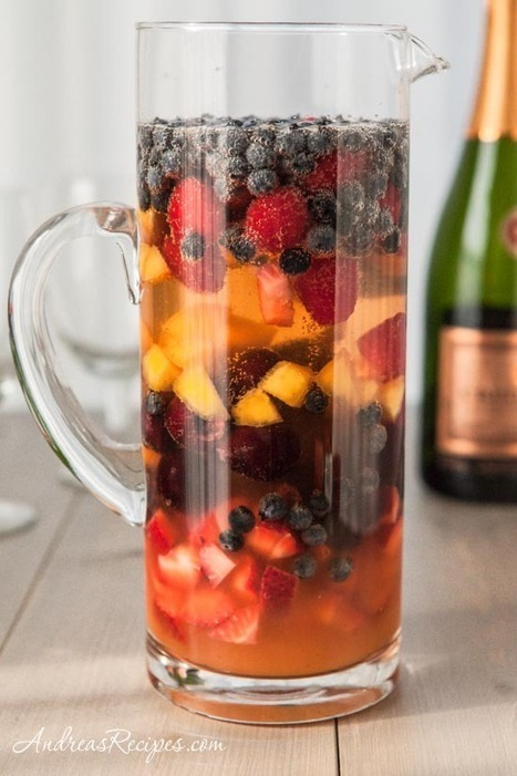 #Cocktail / Fruity Sparkling Summer Sangria Recipe - Andrea Meyers | Last Call | Scoop.it