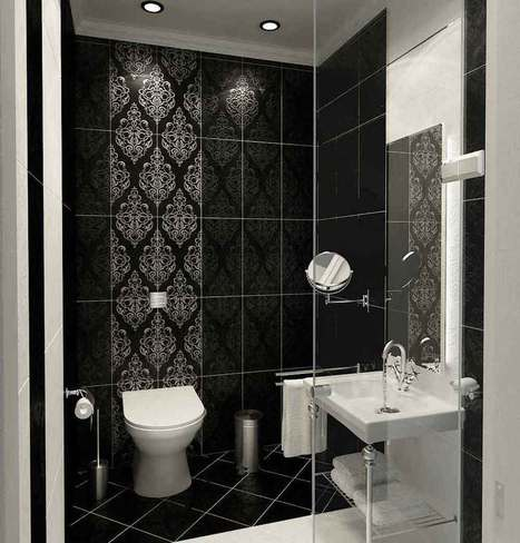 Stunning Black on Black and White Decorative-Tiled Bathroom | Decorathed Bathroom | Scoop.it