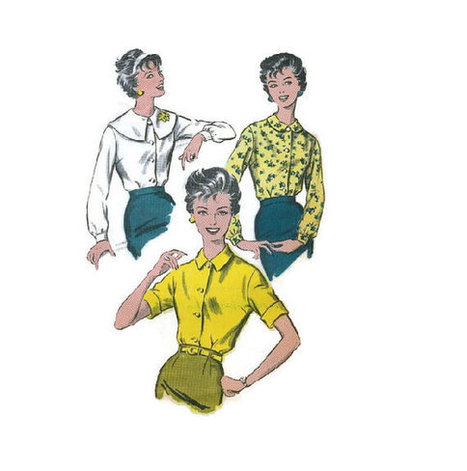 1950s Retro Vintage Fashion Advance Sewing Pattern Women's Blouse Shawl Collar Shirt Long Short Sleeve Top Button Front Bust 34 | Vintage Sewing Patterns | Scoop.it