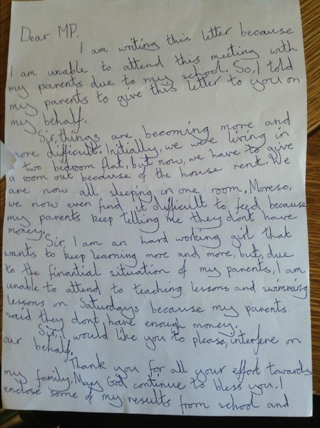 My family cannot afford food: Girl, 8, writes heartfelt letter to MP | welfare cuts | Scoop.it