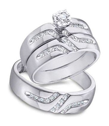 0.28 cttw 10k White Gold Diamond Trio Wedding Rings For Him... | Jewelry Mall | Scoop.it