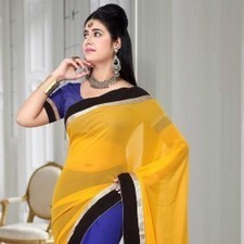 Blue & Yellow Faux Georgette Saree | Strollay.com | Scoop.it