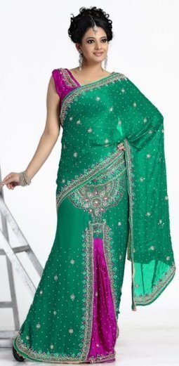 Green And Magenta Color Chiffon Party Wear Lehenga Saree - $177.00 | Bridal Sarees , Lahenga Sarees Collection | Scoop.it