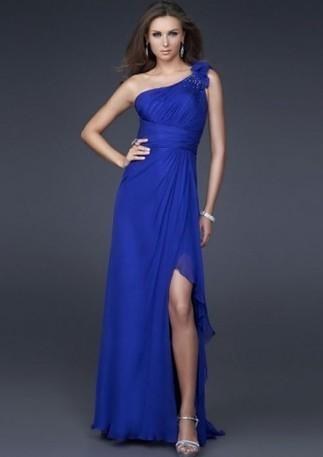 One-shoulder Floor-length Beading Flowers Chiffon Prom Dresses - Happidress | Fashion Dresses | Scoop.it