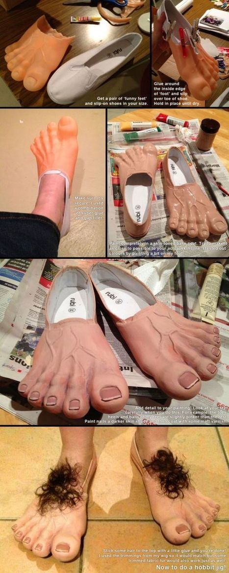 How to Make Your Own Hobbit Feet - Neatorama | The Legendarium: J.R.R. Tolkien's life and works. The Hobbit, The Lord of the Rings and more | Scoop.it