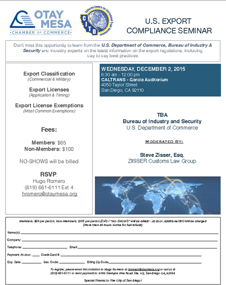 U.S. Export Compliance Seminar | Otay Mesa Chamber of Commerce | International Trade | Scoop.it