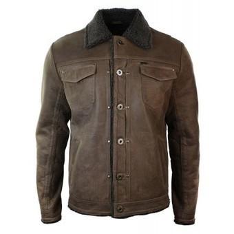 Mens Denim Jeans Style Tan Brown Vintage Classic Leather Jacket Fur Fleece Lined | Mens clothing | Scoop.it