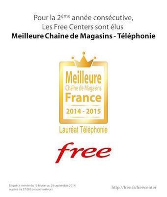 Les Free Centers élus « Meilleure chaîne de magasins » catégorie Téléphonie | Free Mobile, Orange, SFR et Bouygues Télécom, etc. | Scoop.it