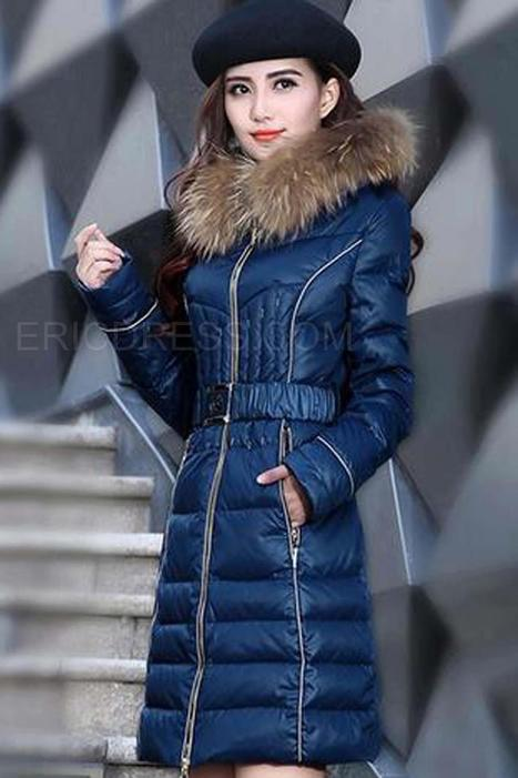 $ 70.89 Long Section Thick Fur Collar Slim Down Coats   FASHION-BEAUTY-CLOTHES-GIRL   Scoop.it