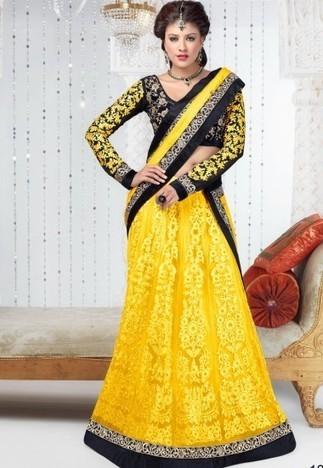 Yellow Semi Santoon Lehenga with Choli And Dupatta LVD467 - Lehenga | Desi Butik | Online Sarees shopping Store in India | Scoop.it