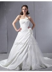 Chapel Train Ball Gown Strapless Satin Ivory Wedding Dress B21817 for $855 | Bellaboy | Scoop.it