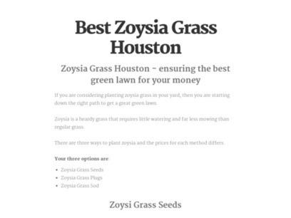 Best Zoysia Grass Houston | Zoysia Grass Plugs Review | Scoop.it