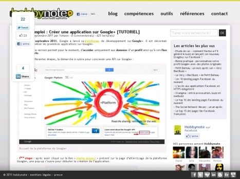 Mode d'emploi : Créer une application sur Google+ [TUTORIEL] | Teaching in the XXI Century | Scoop.it