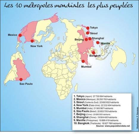 Les dix métropoles mondiales les PLUS PEUPLÉES et les pays où elles se situent | URBANmedias | Scoop.it