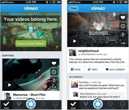 Vimeo revamps iOS app with new design, improved social sharing ... | sadf | Scoop.it