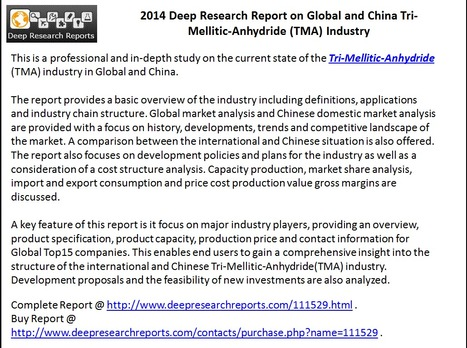 2014 Global & China Tri-Mellitic-Anhydride Market – Competition, Opportunities & Threats | Market Research & Analysis | Scoop.it