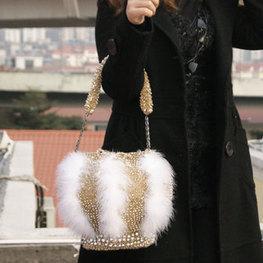 Luxury Rhinestone Mink Hair PVC Handbags Gold [women-bags-039] - $147.00 : Hello Kitty Bags For Ladies, Anteprima Bags Style Stereo Hello Kitty Bags ,Panda Bags , Diamond Bags For Womens Fashion, | Amazing Hello Kitty Bags | Scoop.it
