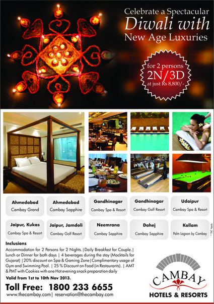 Cambay hotels & Resorts offers extra ordinary Diwali tour package for a couple. | Hotels & Resorts | Scoop.it