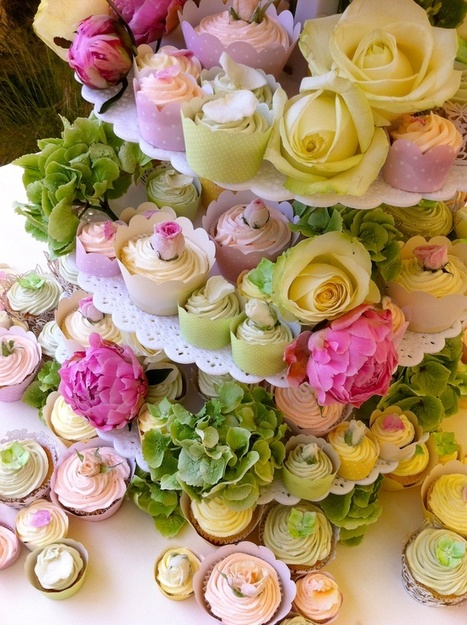 Cupcakes, pastel, roses, flowers spring wedding | Candy Buffet Weddings, Events, Food Station Buffets and Tea Parties | Scoop.it