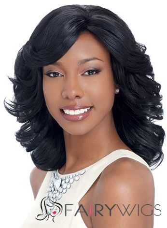 Noble Medium Wavy Black Side Bang African American Lace Wigs for Women 14 Inch : fairywigs.com | African American Wigs | Scoop.it