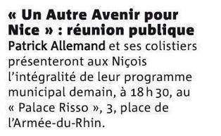 Réunion publique de présentation du programme municipal   Nice 2014, Un autre Avenir pour Nice avec Patrick Allemand   Scoop.it