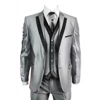 Mens Shiny Silver Grey Wedding Party Prom Suit Slim Fit Black Trim 4 Piece | Mens clothing | Scoop.it