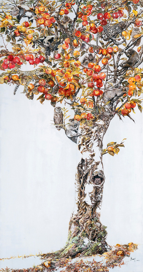 Drunk in Autumn: A Towering New #Acrylic #Ink #Drawing by Zhao Na. #art #nature | Luby Art | Scoop.it