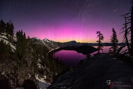 Stunning Picture of a Pink Aurora Over Crater Lake | Photography as a narrative art | Scoop.it