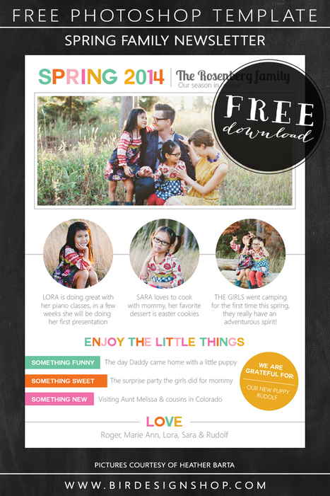 Spring family newsletter - free photoshop template - Birdesign | Learn Photography | Scoop.it