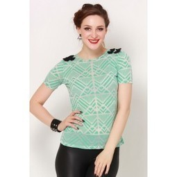 Green & White Patterned Bow Top   Online shopping for women   Scoop.it