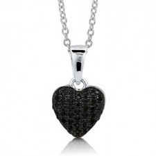 BERRICLE - Black Cubic Zirconia CZ Sterling Silver Puffed Heart Pendant Necklac | Berricle Necklaces | Scoop.it