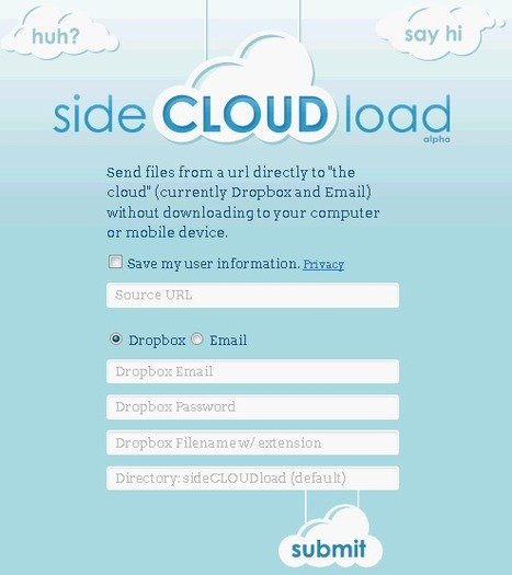 sideCLOUDload: Download Files From A URL Directly To Your Dropbox Or Email | Ter leering ende vermaeck | Scoop.it