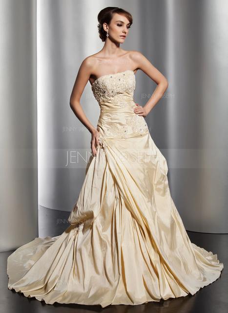 [€ 177.36] A-Line/Principessa Senza spalline Cappella treno Taffettà Abito per matrimonio con Increspature Pizzo Perline (002014816)   fantastic dresses   Scoop.it