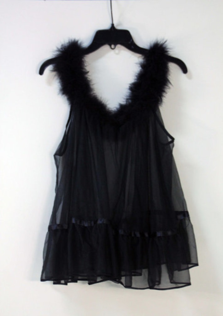 Ultimate Vintage Sex Kitten Babydoll Nightie Sheer Black Nylon Chiffon with Black Marabou Feather Trim Super Mid-Century Baby Doll Lingerie | Antiques & Vintage Collectibles | Scoop.it