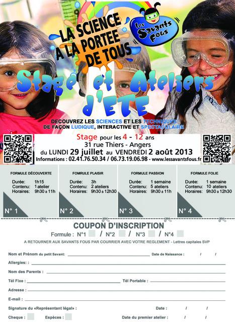 Programme des ateliers de la semaine du 29 juillet au 2 août 2013 à Angers | Les Savants Fous | Scoop.it