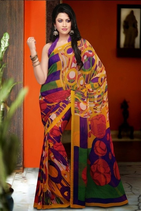 Gravity Fashion - Ethnic Apricot, Brick Red & Bottle Green Printed Saree | If loving Fashion is a Crime, We Plead Guilty | Scoop.it