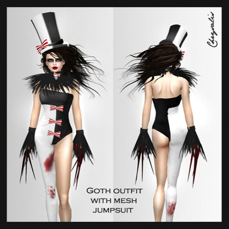 Goth Outfit and Mesh Jumpsuit Halloween Group Gift by Chrysalis   Second Life Freebies   Second Life Freebies   Scoop.it