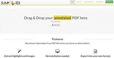 Sumnotes. Extraire l'essentiel de vos fichiers PDF – Les Outils Tice | Les outils du Web 2.0 | Scoop.it