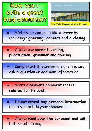 Blogging: Teaching Commenting Skills | Primary Tech | Blogging 101 | Scoop.it