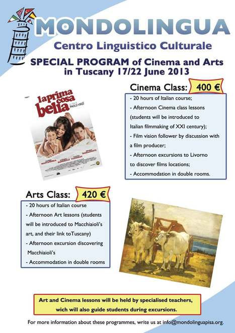 Special Program - Cinema and Art in Tuscany - June 2013 - Mondolingua | Holiday in Pisa | Scoop.it