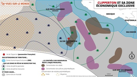 Carte : Clipperton et sa zone économique exclusive (Vues sur le monde) | Cura | Scoop.it