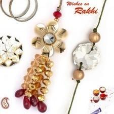 Golden beads Bhaiya-Bhabhi Rakhi pair - Send Rakhi to India   Rakhi Gifts to India, USA, UK, Canada, Australia   Scoop.it