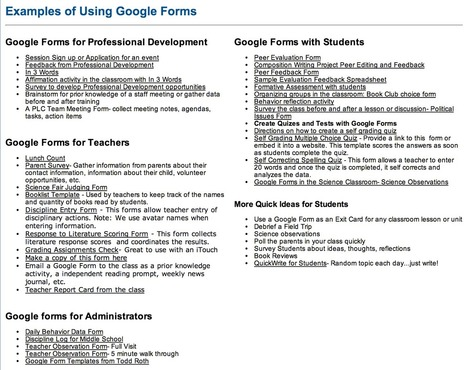Tons of Google Forms for Teachers, Administrators and Students ~ Educational Technology and Mobile Learning | Technology for classrooms | Scoop.it
