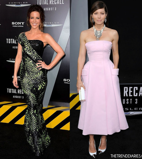 "Celebrity for the World: ""Total Recall"" Premier brings Francesca Eastwood and Jessica Biel with their contrary outfits 