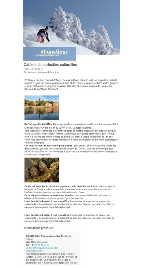 Le cabinet de curiosités culturelles | juillet 2010 | Rhône-Alpes Tourisme | ARTIS MIRABILIS : toute la revue de presse | Scoop.it
